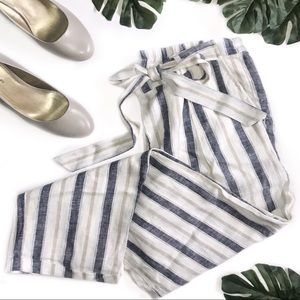 Love Tree • Cropped Striped Linen Pants